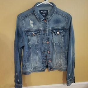 Silver Distressed jean jacket